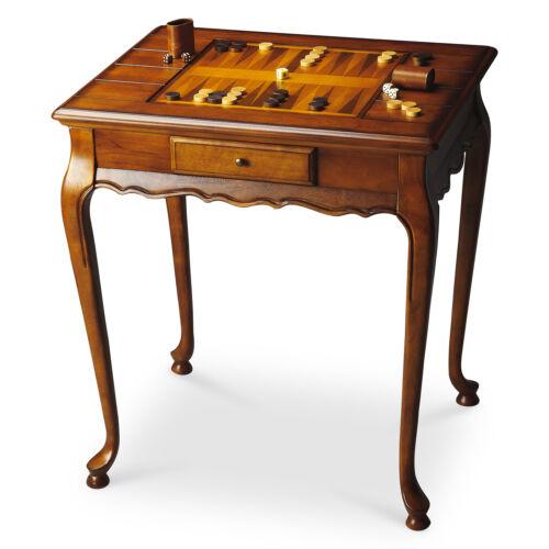 WELLINGTON GAME TABLE - OLIVE ASH BURL - CHESS - BACKGAMMON - FREE SHIPPING*