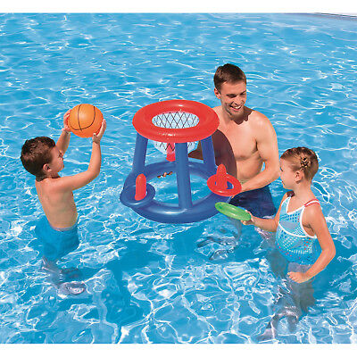 "Swimming Pool Basketball Game Set Floating Water Sports 24"" Inflatable Hoop Kids"