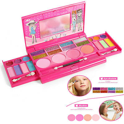 Kids Toy Cosmetic Set Princess Makeup Girls Pretend Play Eyeshadow Lip Pink Gift