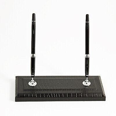 Desk Accessories - Greenwich Black Croco Leather Double Pen Stand