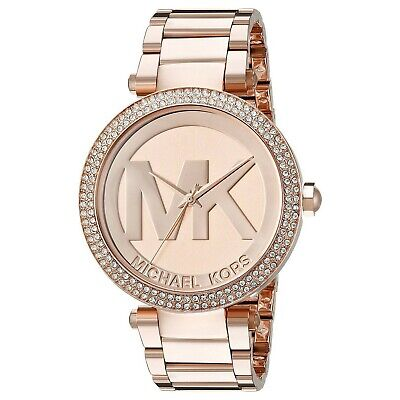 NEW MICHAEL KORS MK5865 Parker Pave Dial Rose Gold Tone Ladies Wrist Watch