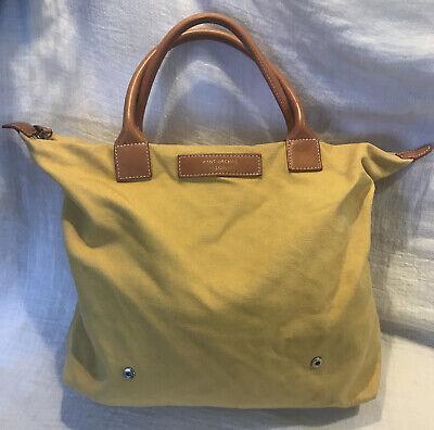 """WANT ORGANIC Les Essentiels De La Vie Canvas & Leather Tote Bag Yellow """"J Crew"""""""