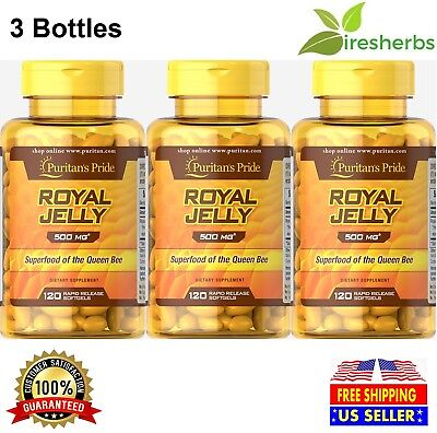 ROYAL JELLY 500MG QUEEN BEE SUPERFOOD IMMUNITY ASTHMA AID 360 SOFTGELS 3 BOTTLES ()