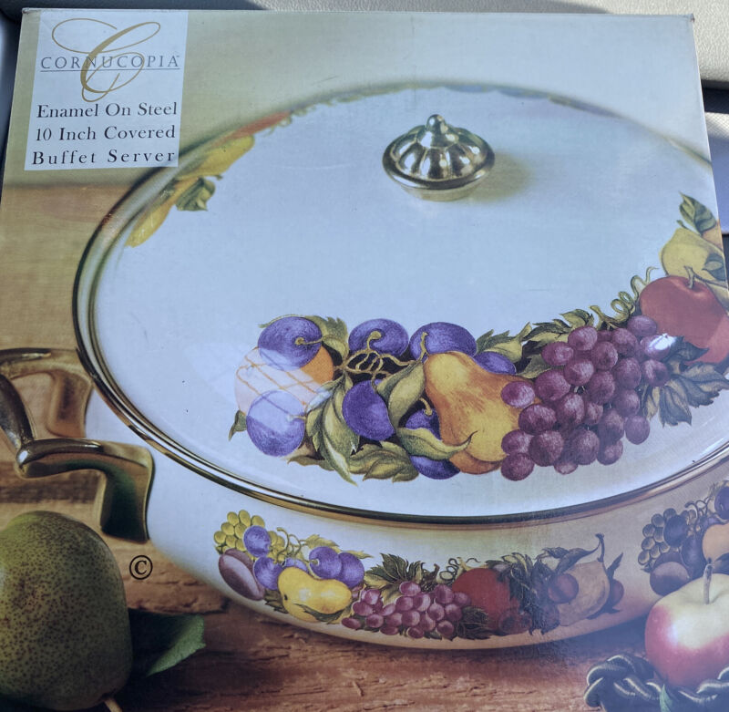 "CORNUCOPIA Enamel on Steel 10"" Covered Buffet Server, Fruit Pattern, Enamelware"