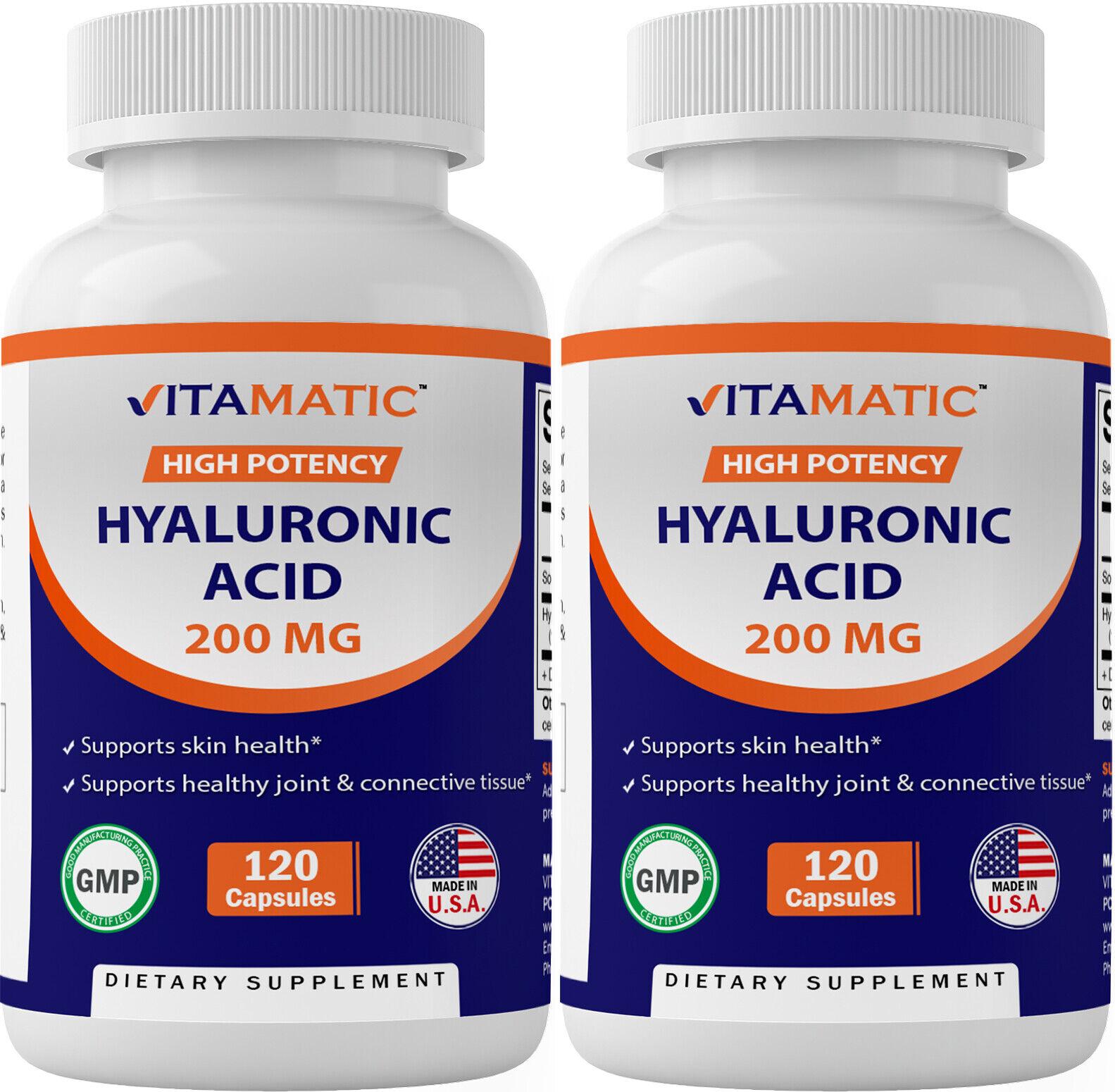2 Pack - Vitamatic Hyaluronic Acid Supplements 200mg -240 capsules Healthy Skin
