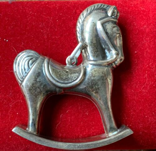 Beautiful Cazenovia Rocking Horse Sterling Ornament Made by R. M. Trush