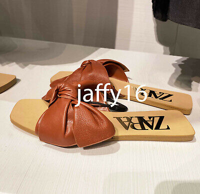 ZARA NEW WOMAN FLAT LEATHER SANDALS WITH BOW BRICK 35-42 2616/510