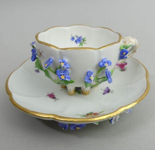 ANTIQUE MEISSEN FLORAL ENCRUSTED PORCELAIN CABINET CUP & SAUCER 19TH CENTURY