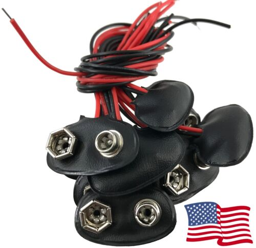 9V Battery Connector Faux Leather Clip Plug Wire 12cm 9 Volt T Clip - 10 PCS USA
