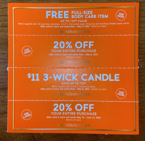 4 Bath And Body Works Coupons 20 Off Entire Purchase Fre Gift Candle 5/9/21 - $22.22