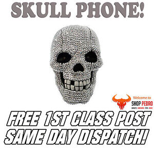 Scary Flashing Eyed Diamond Skull Corded Telephone Goth Vintage