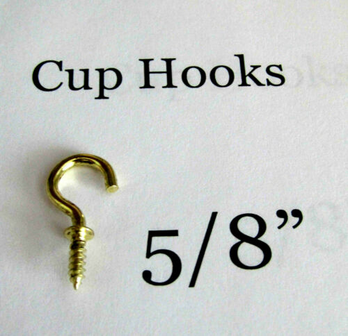 """Cup Hooks 5/8"""" Inch Brass Plated Lots 12/25/50/100/500 New"""