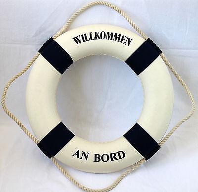 Deko Rettungsring Ø ca. 50 cm blau-weiß Aufdruck Willkommen an Bord