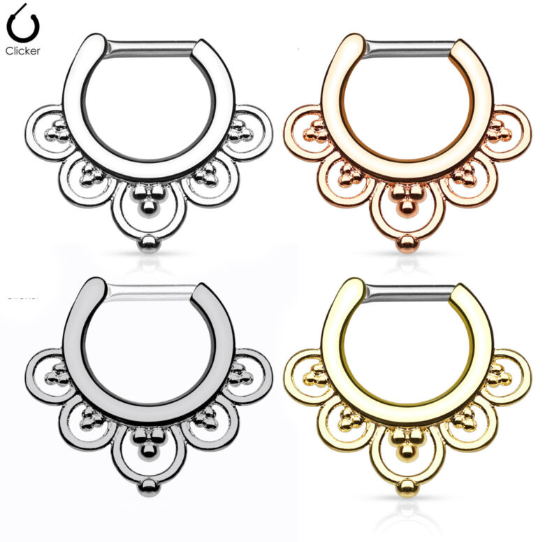 1pc Flower Petals Septum Clicker 316l Surgical Steel 14g Or 16g Nose Ring