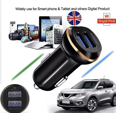 NEW 2 iN 1 DUAL USB 12-24V iOS ANDROiD LED BLACK BEST CAR CHARGER 4 ALL