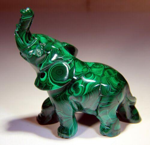 "3.25"" Top Quality Elephant, Natural Malachite Hand Carving! SC305"