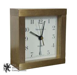Tiffany & Co. Square Brass Desk Mantel Alarm Clock Quartz Swiss Made 3.5