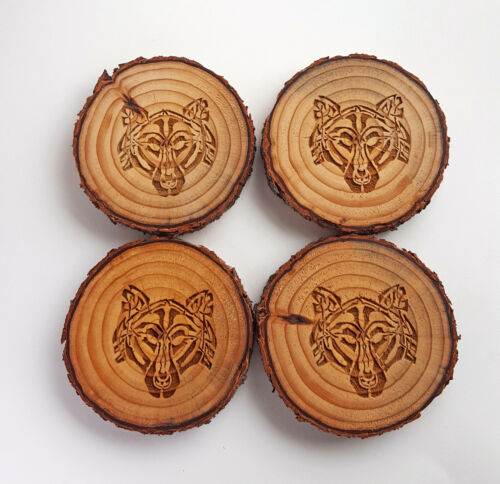 Celtic Wolf Tree Slice Coaster Set Of 4, Rustic Wooden Coasters, Absorbant