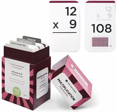 Multiplication Facts Flash Cards - 173 MULTIPLICATION FLASH CARD | All Facts 0-12 | Color Coded