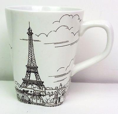 Paris city scape Eiffel Tour coffee cup white & sepia dishwasher microwave safe