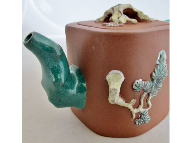 """Old Chinese YIXING Clay Teapot w/ Teal Enameled Tree Trunk Spout & Handle (6.5"""")"""
