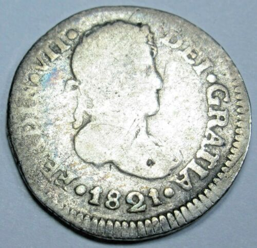 1821 NG M Guatemala Silver 1/2 Reales Old Antique 1800s Spanish Colonial Coin