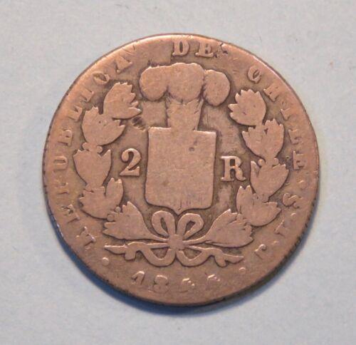 1844 Chile Santiago 2 Reales Silver World Coin Condor Rare South America