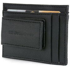 Leather Money Clip Wallet Card Case ID Window Strong Rare Earth Magnet 5 Pockets