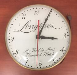 """ANTIQUE LONGINES  ELECTRIC WALL CLOCK, WITH RED 2nd HAND.     """"IT WORKS!""""!!!!!"""