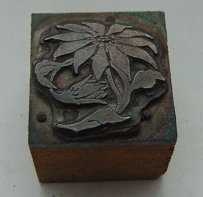 Vintage Printing Letterpress Printers Block Flowers 1 116 X 1 18