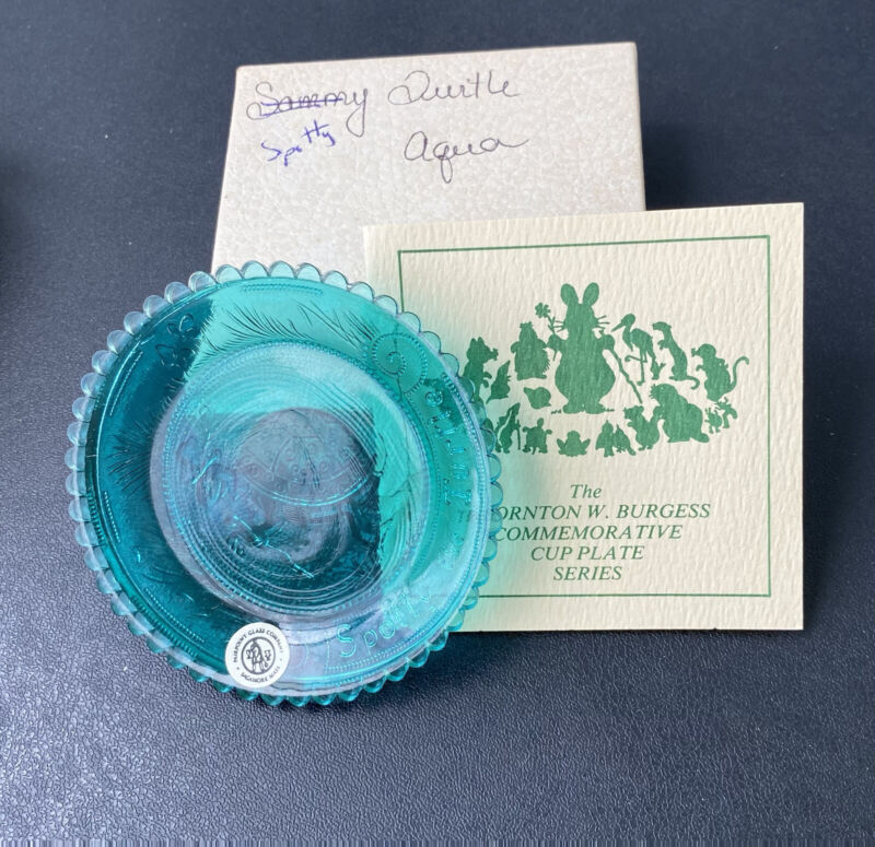 Pairpoint, Spotty the Turtle, Aqua Glass Cup Plate, Sandwich Cape Cod MA