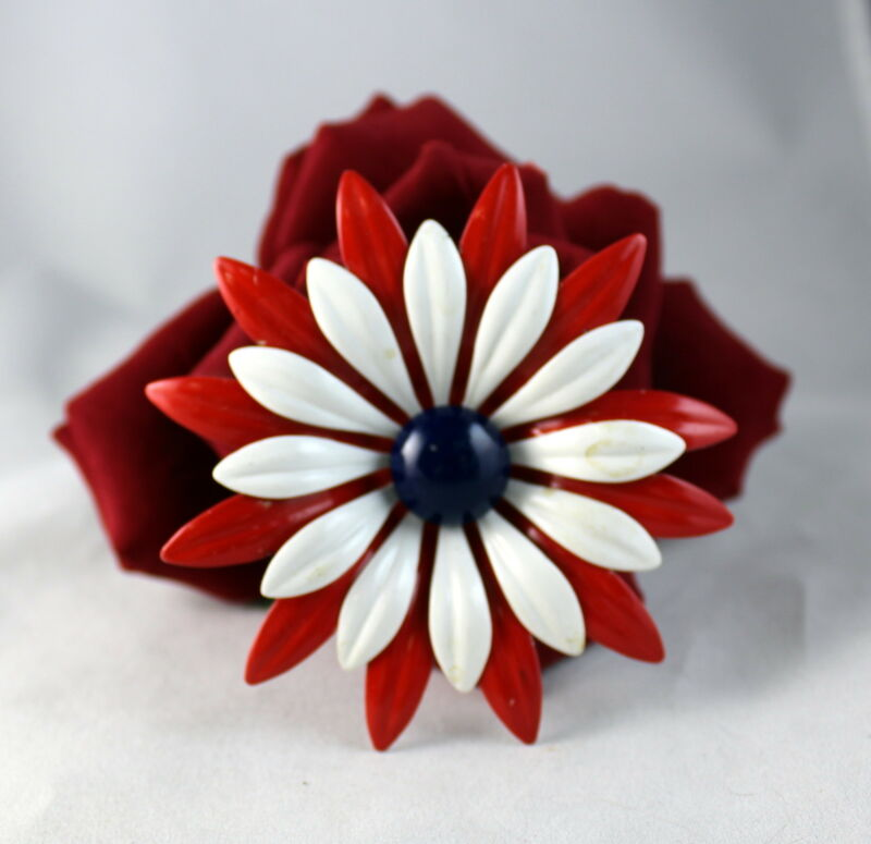 Vintage Red White Blue USA Enamel Flower   Pin Brooch CAT RESCUE