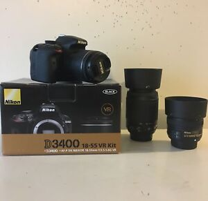Nikon D3400 barely used 3 lenses! Need gone!