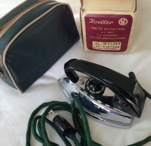 Zoeller Vintage Automatic Travel Iron with Case and Original Box No. 351/355