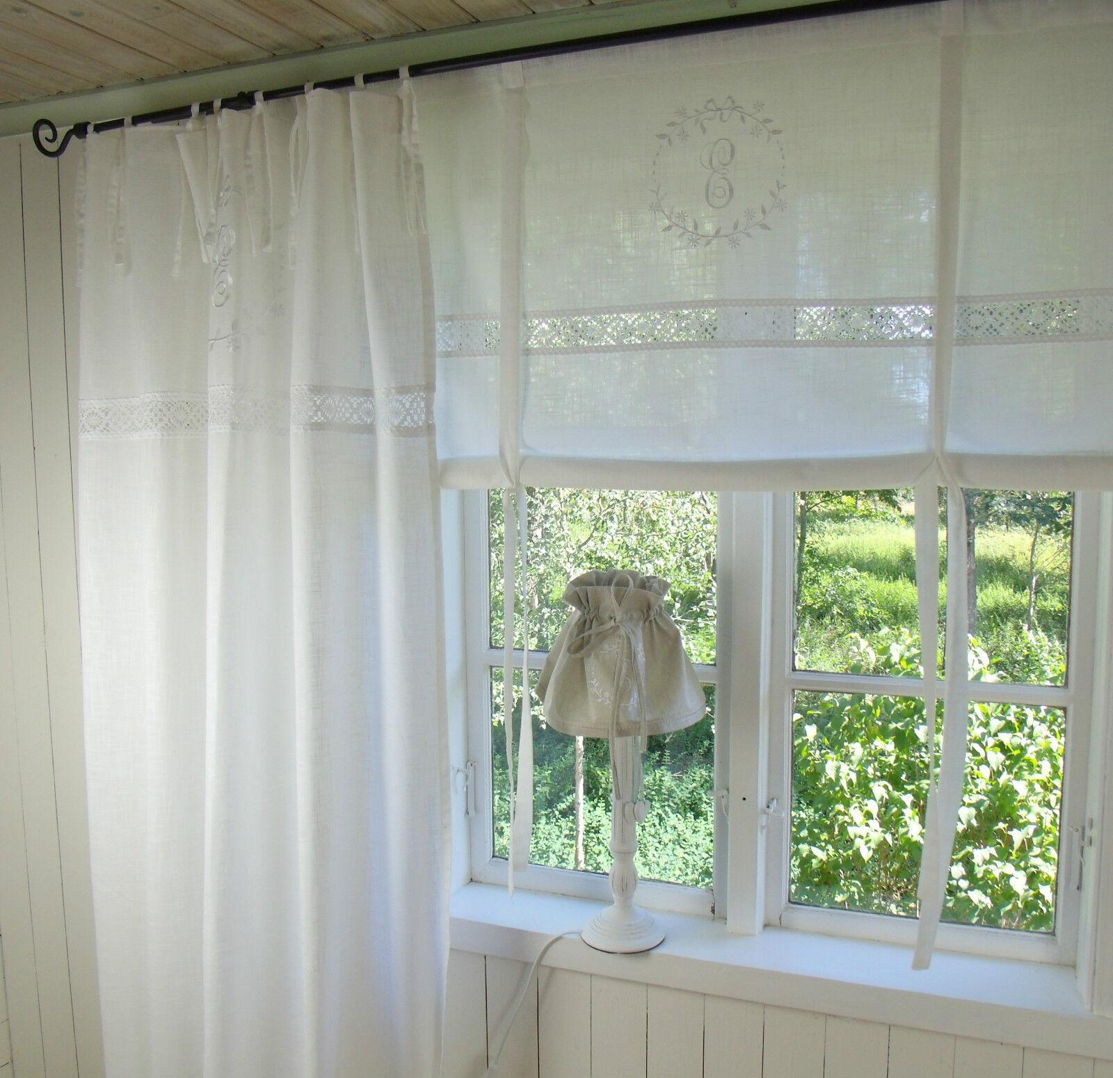 vorhang crystal weiss schlaufen gardine 120x240 2 st ck lillabelle shabby vintag eur 89 95. Black Bedroom Furniture Sets. Home Design Ideas