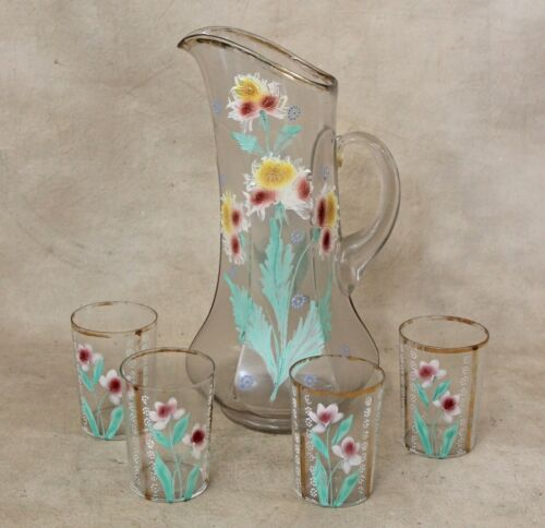 19th c Victorian Blown Glass HP  Tall Pitcher & Glasses Water Lemonade Set