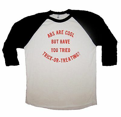 raglan abs are cool trick or treating halloween funny costume idea t shirt tee](Casual Halloween Costume Ideas)