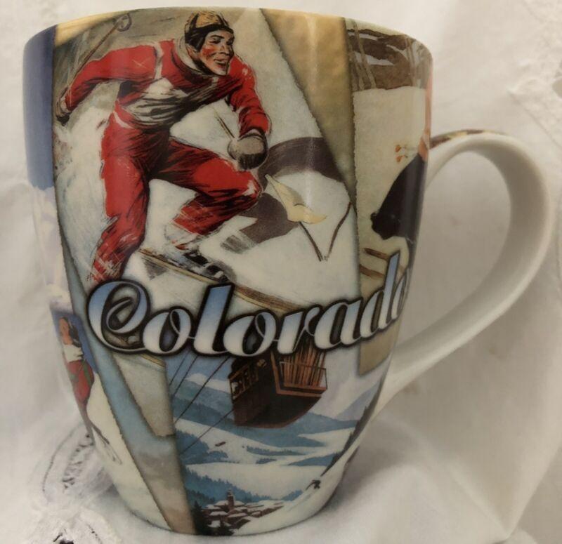 """Colorado Ski Mug Old Fashioned Ski Equipment & Vintage Dress  Lge 16 oz  4.75"""" H"""