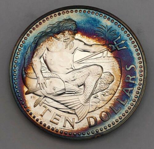 1966-76 BARBADOS 10 TEN DOLLARS SILVER PROOF MONSTER COLOR GEM TONED BU UNC (MR)
