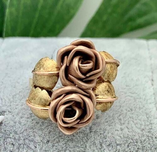 14K Gold Double Rose Bud Ring 3-D- Vintage- Estate 1960s- Handmade- Unique-