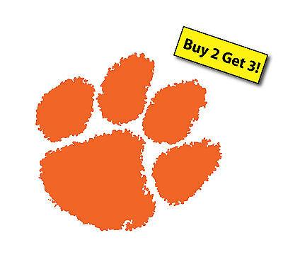 Clemson Tigers Orange Paw Print Decal Sticker  Car Truck Cornhole Boards