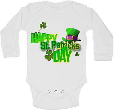 Happy St Patricks Day Personalized Long Sleeve Baby Vests Bodysuits Unisex White