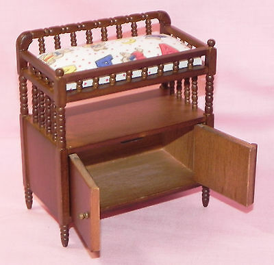 Dollhouse Miniature Changing Table Walnut Baby Doll  CLA10379 1:12 Scale