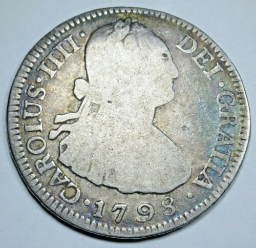 1798 NG M Spanish Nueva Guatemala Silver 2 Reales Antique Two Bits Pirate Coin