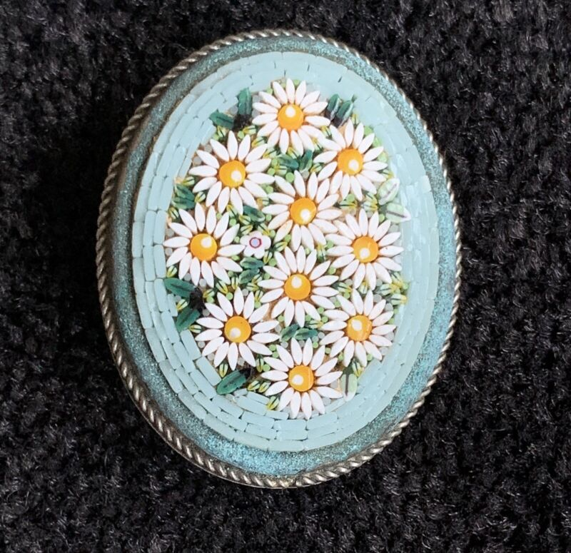 Micro Mosaic Flowers ~ Daisies ~ Antique Brooch Pin