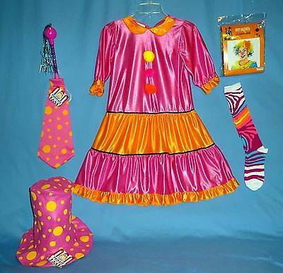GIRL CLOWN COSTUME DRESS;girls-M-8-10;NWT-WIG,HAT,TIE,SOCKS;CIRCUS;PARTY-MARACA  - Clown Costume For Girl