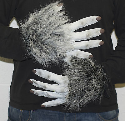 Grau Werwolf Latex Handschuhe, Halloween Kostüm Unheimlich Wolf Hund Tatzen