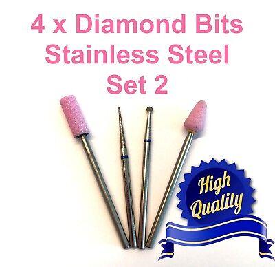 4 x Diamond Bits Drills Fresas Burs for dry manicure as Magic Bits size -