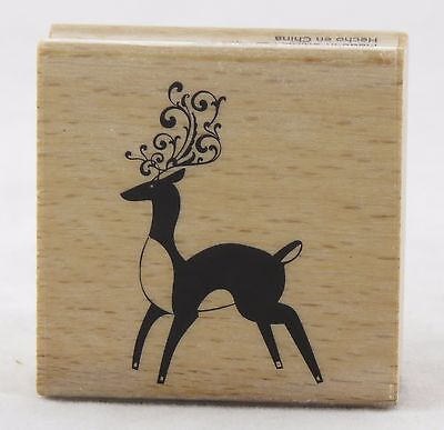 Holiday Fudge - Reindeer Swirl Wood Mounted Rubber Stamp Hot Fudge Studios NEW christmas holiday