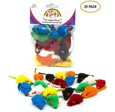 20 Rainbow Mice with Catnip & Rattle Sound Made of Real Rabbit Fur Cat Toy Mouse Fur Mouse Toy